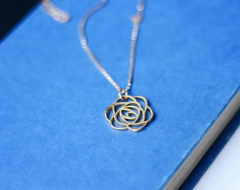 Rosalee Necklace - Long Gold Rose Charm Necklace