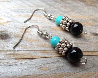 SOUTHWEST SILVER EARRINGS Turquoise look Black Silver women's jewelry for her