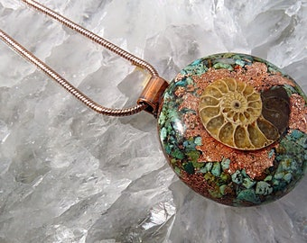 Powerful Orgone Pendant - Turquoise/Ammonite - FREE WORLDWIDE SHIPPING!