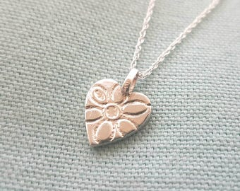Small flower print heart necklace//solid silver pendant