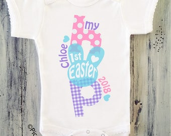 Baby Girl My First EASTER Onesie Personalized Easter Bodysuit Baby Girl HOP Onesie Babys 1st Easter Bunny Onesie Pink and Lilac Easter HOP