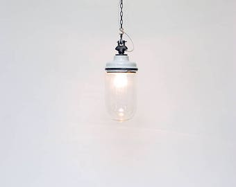 """Pendant light in glass and ceramic: """"Ace of spades"""""""