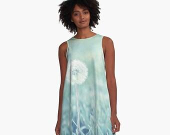 A Line Dress, Flower Clothing, Blue Floral dress, Dandelion Mini dress, A-Line Flare Dress, Flower Skater Dress, Cyan Blue Mini Dress