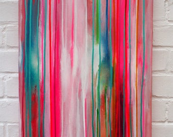 Colourful Hot Pink Abstract Canvas Original Painting Teal  Ready to Hang Artwork Poured Liquid Acrylic Cherry Ice Cream