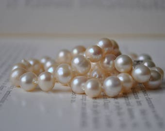 Handknotted Cream Freshwater Pearl Necklace - New Old Stock Pearls, Sterling Clasp, Mid Century Style