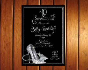 Silver Glitter Shoes Adult Birthday Party Invitations - Printable Digital Birthday Invitation File