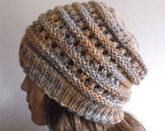 Wool Women Hat. Slouchy Hat. Hand Knitted Hat.