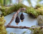 Morel Citirine Quartz Crystal Mushroom Earrings