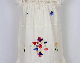 3-4 Years- Mexican Hand Embroidered Girl Dress on Manta/Cotton Gauze -Summer- Boho- Handmade- Crochet- Lace