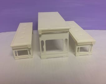Vintage Barbie Furniture, Picnic Table, White Benches, Fold N Fun Barbie House, Folding Furniture, 1992 Mattel Furniture, Replacement Parts
