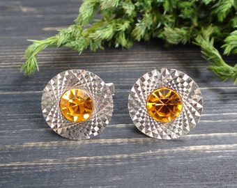 Amber rhinestone Metal cufflinks in box husband birthday gift anniversary gift/for/men cognac cufflink fathers day gift/from/daughter gifts