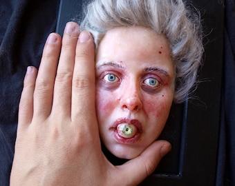 Third eye Realistic wall sculpture Polymer clay wall plaque Dark art doll Macabre art Horror art sculpture Creepy face Hyperrealistic face