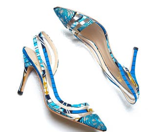 African Fabric Shoes, African Print Shoes, Blue Bridal Heels, high heels, African print stylish pumps, African shoes, ankara shoes, L'aviye