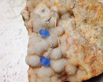 Light Blue Etched Glass and Silver Earrings