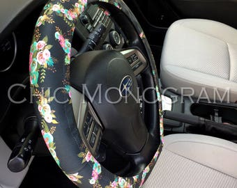 Mint and Gold Floral Steering Wheel Cover Monogrammed Steering Wheel Classy Black Monogram Cute Car Accessories For Women Padded Insulated