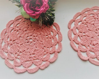 Set of 2 pink coasters, crochet drink coasters, coffee coasters, Easter table coasters, cotton coasters, crochet small doilies, mom gift