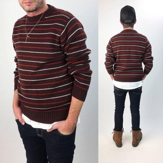 70's Mens Striped Acrylic Sweater Mens Medium - Brown Orange Woven Horizontal Striped Retro Knitted Pullover - Stripe Crew Neck Knit Jumper