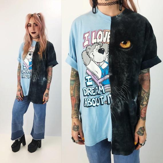Reconstructed Vintage T-shirt Large - Unisex Remade Retro Weird Rare T-shirt - Black Panther Cat Hybrid Hipster Tee - VTG Half & Half Shirt