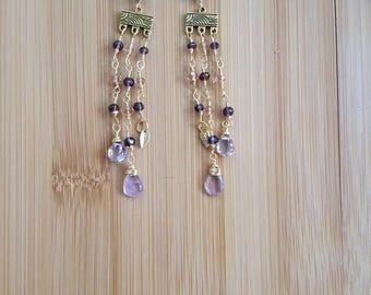 Amethyst Earrings, Amethyst Cascade Earrings, Purple Earrings, Gemstone Earrings, Boho Earrings, Crystal Earrings, Amethyst Jewelry, Gift