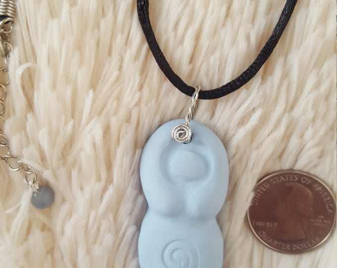 Goddess, Divine Feminine, Divine Mother Throat Heart chakra necklace in light blue with blue calcite bead