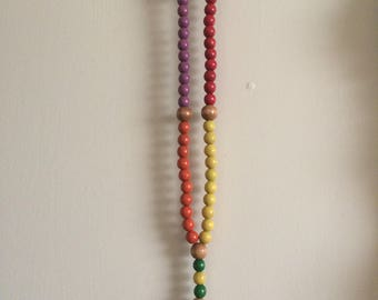 Vintage Wooden Rosary with Colorful Beads