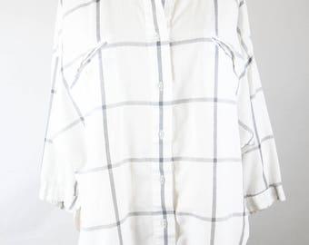Vintage Diane von Furstenberg Womens White Gray Plaid Cotton Blend Button Up Oversized Shirt