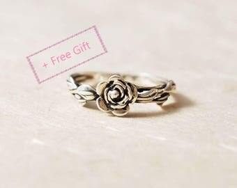 Unique Promise Ring For Her, Leaves Ring, Flower Ring, Nature Inspired Ring, Unique Engagement Ring, Nature Inspired Promise Ring