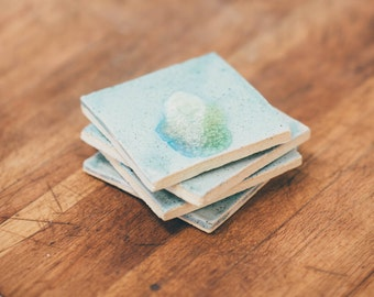 Handmade Ceramic Coasters / Drink Coasters / Coaster Set / Coastal Decor / Blue Coasters / Tea Coasters / Valentine's Day Gift /Zest it Up