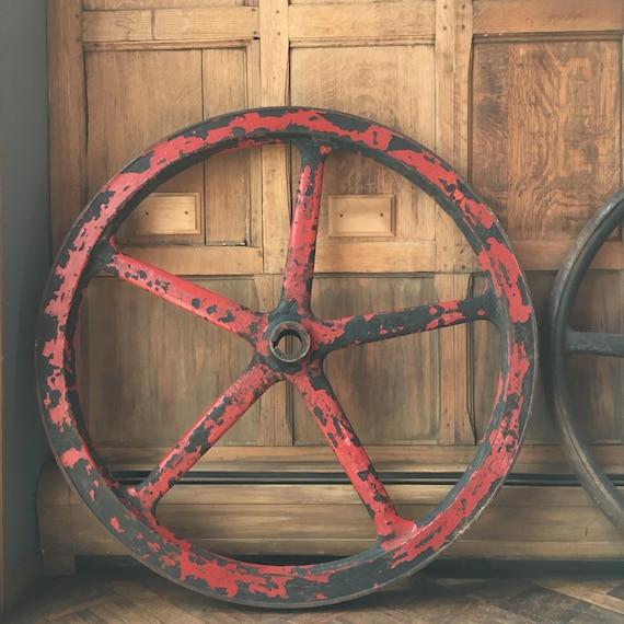 HUGE Industrial Wheel, Red Metal Wheel, Industrial Decor, Steampunk Wheels, Steel  Industrial Machinery