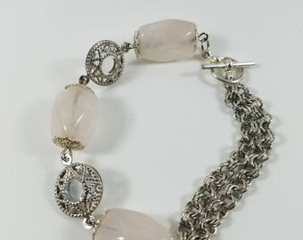 Rose quartz asymmetrical bracelet