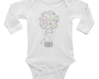 Easter Bunny Rabbit Baby Infant Long Sleeve Bodysuit- 0 to 18 months