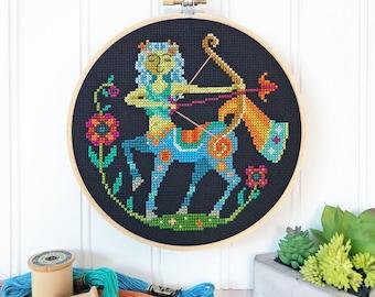 Sagittarius - zodiac sign - Satsuma Street modern cross stitch pattern PDF - Instant download