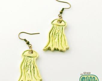 Jellyfish earrings, sea nettle marine biology jewellery, choose your earring wires