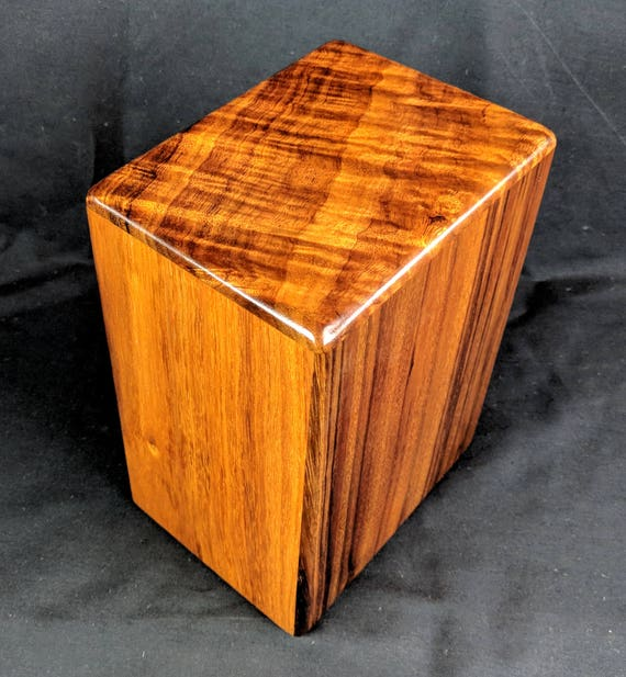 "Large Curly Hawaiian Koa Memorial Cremation Urn... 7""wide x 5""deep x 9""high Wood Adult Cremation Urn Handmade in Hawaii LK011118-B"