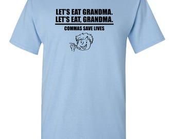 Let's Eat Grandma Funny Comma Humor Grammar Pun English Teacher Graphic Tee Adult Mens T-Shirt