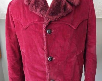 Vintage Men's Maroon Winter Coat by Sears Sportswear