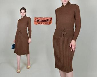 1970's Chocolate Missoni Knit Sweater Dress Italian Wool Wiggle Dress
