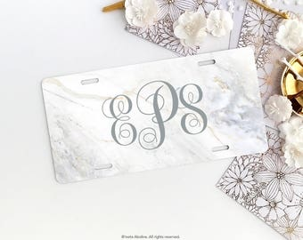 Personalized Car License Plate, Monogrammed License Plate Frame Marble Print Car Plate Frame Individualized Car License Plate Frame Set 09.