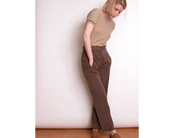 VTG 90s brown high waisted trouser pants minimalist front pocket muted casual