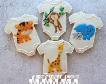 Baby Shower Jungle themed decorated cookies  One Dozen (12 cookies)
