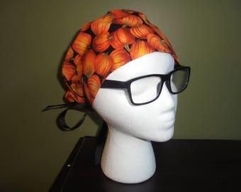 Pumpkin Autumn Surgical Scrub Hat