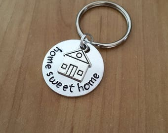 Home Sweet Home keychain - Housewarming Gift - New Home Gift - House Keys Keyring - Moving In - First Home Gift - Closing Gift - Realtor
