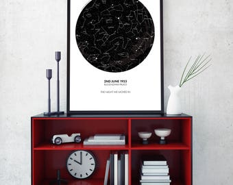 Custom Star Map, Personalized Star Map, Custom Night Sky Print, Custom Sky Map, Custom Star Sky, Constellation Print
