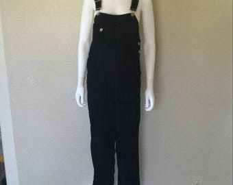 "90s Black velvet overalls Sz 6p 36"" waist, 27"" inseam Great condition"