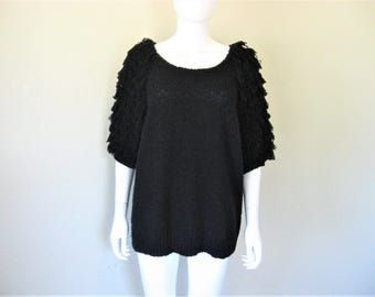 80s 90s oversized Shaggy Black Sweater