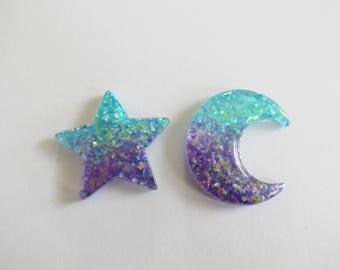 Glitter Pin Star Moon Hair Clip Barrette Bobby Pin Goth Kawaii Rave Cute Galaxy Cosmic Celestial Ombre Purple Blue Sparkly