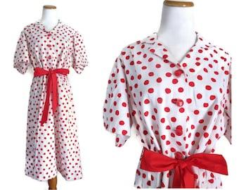 Plus Size Dress Polka Dot Day Dress Red & White Shirtdress Shirtwaist 1960s 60s Rockabilly Retro Belted 1X