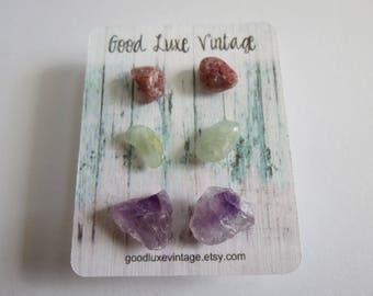 Crystal Earring Set Studs Amethyst Aquamarine Pink Aventurine Birthday Gift Natural Druzy Gemstones Nickel Free Boho
