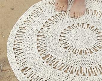 "36"" Diameter Round Throw Rug, Crochet Rug, Cotton Crochet Rug, Off White Rug, Handmade Rug, Small Area Rug, Crochet Area Rug, Handmade Rug"