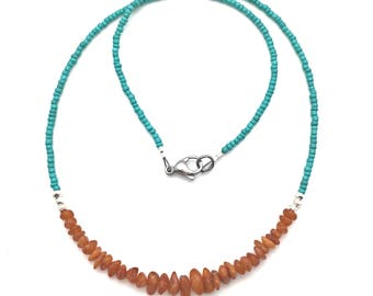Amber Necklace with Thai Silver beads & Turquoise seed beads